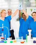 Wissenschaftler hohe fünf Lizenzfreies Stockfoto