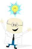 Wissenschaftler mit Ideenlampe Stockfoto