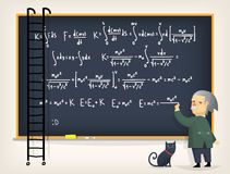 Wissenschaftler nahe Tafel Stockfotos