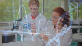Wissenschaftlerleitexperiment gegen Kurve und DNA-Helix stock footage