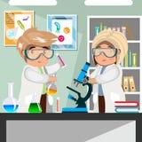 Wissenschaftlermänner und -frauen, die am Wissenschaftslabor arbeiten lizenzfreie abbildung