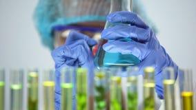 Wissenschaftlermarkierungsflasche mit blauer chemischer Substanz des Tests, Experimentergebnisse stock video