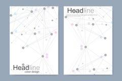 Wissenschaftliche Broschürendesignschablone Vector Fliegerplan, Molekülstruktur mit verbundenen Linien und Punkte wissenschaftlic lizenzfreie abbildung