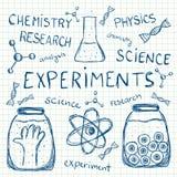 Wissenschaftliche Experimente auf Karopapier Stockfotos