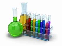 Cientific Forschung. Glasreagenzgläser mit Reagens vektor abbildung