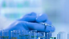 Wissenschaftliche Forschung im Labor, flüssiges Bratenfett von der Spritze in Reagenzgläser lizenzfreie stockbilder