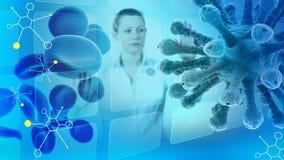Wissenschaftliche Illustration mit Frauwissenschaftler, Molekülen, Blutzellen und Virus Stockfotos