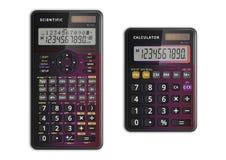 Wissenschaftliche und einfache Taschenrechner stockfoto