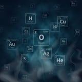 Wissenschaftlicher Vektorhintergrund mit Symbolen der chemischen Elemente und weißem Rauche stock abbildung