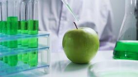 Wissenschaftliches Experiment - Blumen und Anlagen in den Reagenzgläsern stock video