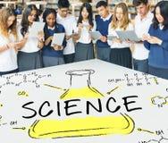 Wissenschafts-Experiment-Laborformel-Chemikalien-Konzept stockfoto