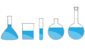 Wissenschafts-Ikonen eingestellt auf weißen Hintergrund Lizenzfreie Stockfotos