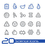 Wissenschafts-Ikonen//-Linie Reihe Stockbilder
