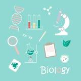 Wissenschafts-Laborgegenstände und -ikonen Stock Abbildung