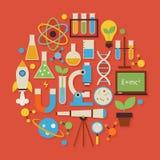 Wissenschafts-und Bildungs-Vektor-flacher Design-Kreis-geformte Gegenstände S Stockbild