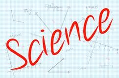 Wissenschafts-Wort mit Mathematik-Hintergrund Stockfotos