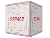 Wissenschafts-Wort-Wolken-Konzept auf einem 3D Würfel Whiteboard Lizenzfreies Stockfoto