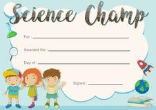 Wissenschaftschampions-Preisschablone mit Kindern im Hintergrund vektor abbildung