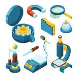 Wissenschaftschemikalie isometrisch Des Industriemikroskoposzilloskop-Vektors 3d der pharmazeutischen Technikbiologie moderne Wer stock abbildung
