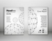 Wissenschaftsdesign-Vektorschablone Abdeckungsjahresbericht in der Größe A4 Lizenzfreies Stockfoto