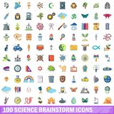100 Wissenschaftsgeistesblitzikonen eingestellt, Karikaturart Lizenzfreies Stockfoto