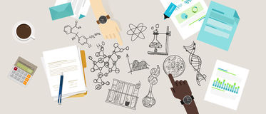 Wissenschaftsikonen-Biologielaborskizzenzeichnungs-Illustrations-Chemielaborsekundärforschung arbeiten Teamarbeit zusammen Stockbild