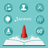 Wissenschaftsikonensatz Flache Ikonen mit langem Schatten und der Rakete fliegt oben Lizenzfreies Stockfoto