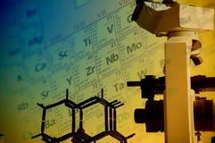Wissenschaftslabor mit chemischem Thema Lizenzfreies Stockfoto