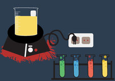 Wissenschaftslaborvektor-Ikonen-Satz, chemische Ikonen stellte, chemisches Labor, chemische Glaswaren ein Vektorillustration, fla Lizenzfreies Stockbild