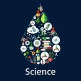 Wissenschaftssymbole in einer Tropfenform Lizenzfreie Stockbilder