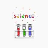 Wissenschaftsvektorkonzept chemie Ausbildung schule Hand gezeichnete Illustration mit medizinischer Ausrüstung Bunte kreative Ski lizenzfreie abbildung