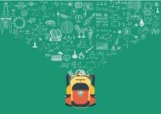 Wissensgekritzel, das zurück in Schule fließt Zurück zu Schule-Konzept Lizenzfreie Stockbilder