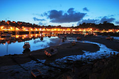 Boats at low tide,  Audierne. Evening in Brittany, France Stock Image