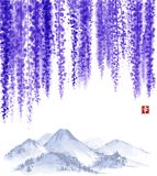 Wisteria blossom and far mountains. Traditional oriental ink painting sumi-e, u-sin, go-hua. Contains hieroglyph -. Happiness Stock Photography