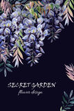 Wisteria flower. Watercolor wisteria card. Royalty Free Stock Images