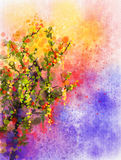Wisteria flowers watercolor painting Stock Photography