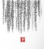Wisteria hand drawn with ink on white background. Contains hieroglyph - happiness. Traditional oriental ink painting. Sumi-e, u-sin, go-hua. Bunches of flowers Royalty Free Stock Image