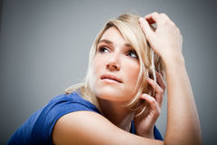 Beautiful Wistful Woman Looking Directly At Camera Stock ...