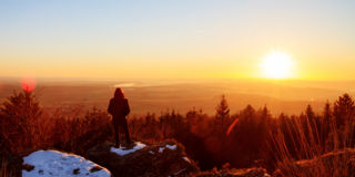 A Wistful Gaze. Winter Sunset: Early March Winter Landscape Picture in Bavaria, Germany Royalty Free Stock Image
