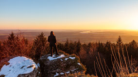 A Wistful Gaze. Winter Sunset: Early March Winter Landscape Picture in Bavaria, Germany Stock Image