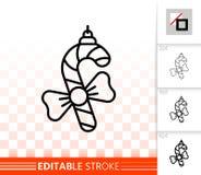 Wisząca cukierek trzciny czerni linii wektoru prosta ikona ilustracja wektor