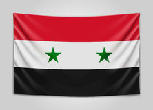 Wisząca flaga Syria Syryjska Arabska republika Flaga państowowa pojęcie Obraz Stock