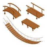 Wiszące drewniane mosta, drewnianego i wiszącego mosta wektoru ilustracje, Mieszkania 3d isometric set royalty ilustracja