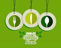 Wiszące zielone silverware znaka ikon etykietki ustawiać Fotografia Royalty Free