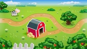 Wiszącej ozdoby gospodarstwa rolnego krajobraz Z Czerwonym stajnia Pełnego koloru Wektorowym projektem Eps 10 ilustracji