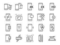 Wiszącej ozdoby ikony kreskowy set Zawrzeć ikony jako smartphone, pamięć, bateria, filtr, ekran, władza, ładowarka i więcej, ilustracja wektor