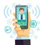 Wiszącej ozdoby lekarka, uosobiony medycyna konsultant na smartphone ekranu opieki zdrowotnej wektorowym pojęciu Zdjęcia Stock