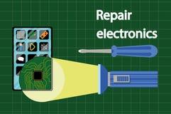 Wiszącej ozdoby remontowy i usługowy pojęcie Smartphone z narzędziami i dodatkowymi częściami Odgórny widok Płascy projektów poję ilustracja wektor