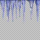 Wiszący półprzezroczyści sople w błękitnych kolorach na przejrzystym tle ilustracja wektor