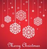 Wiszący płatki śniegu na czerwieni, Wesoło kartka bożonarodzeniowa Fotografia Stock